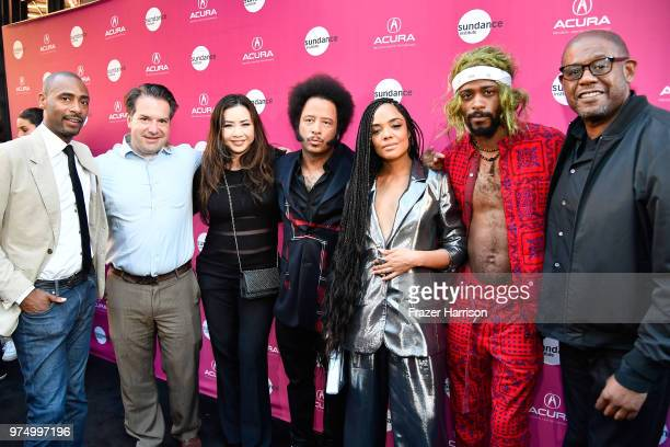 Charles King, George Rush, Nina Yang Bongiovi, Boots Riley, Tessa Thompson, Lakeith Stanfield, and Forest Whitaker attend the Sundance Institute at...
