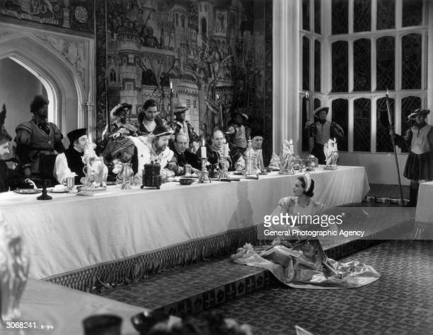 Charles Laughton plays King Henry VIII Robert Donat plays Thomas Culpepper and Binnie Barnes plays Catherine Howard in Alexander Korda's historical...