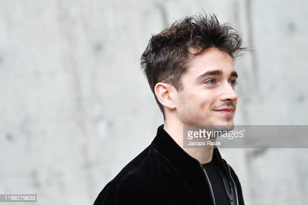 Charles Leclerc is seen at the Giorgio Armani fashion show on January 13 2020 in Milan Italy