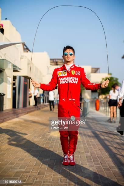 Charles Leclerc of Ferrari and France during the F1 Grand Prix of Abu Dhabi at Yas Marina Circuit on December 01, 2019 in Abu Dhabi, United Arab...