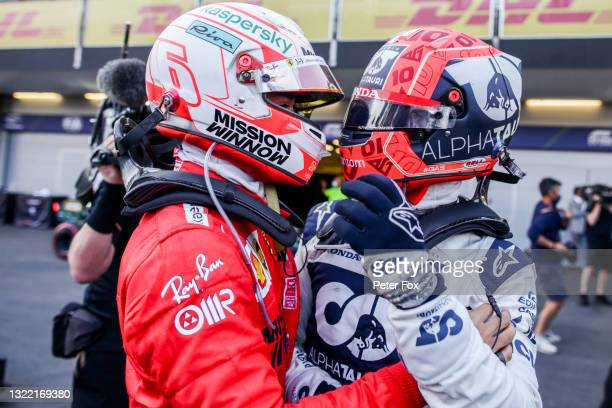 Charles Leclerc of Ferrari and France with Pierre Gasly of Scuderia AlphaTauri and France during the F1 Grand Prix of Azerbaijan at Baku City Circuit...