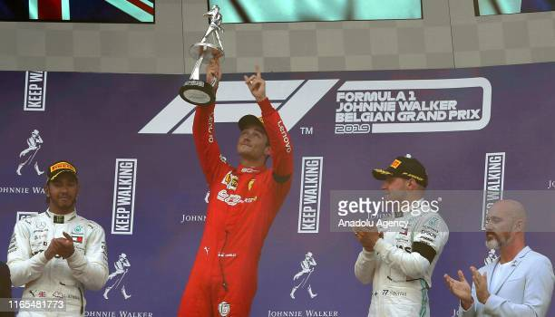 Charles Leclerc of Ferrari celebrates after winning the 2019 F1 Belgium Grand Prix at the Spa-Francorchamps circuit in Spa, Belgium on September 01,...