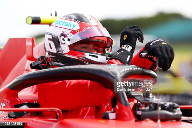 Charles Leclerc of Monaco and Ferrari climbs out of his car in parc ferme during the Formula One British Grand Prix at Silverstone on August 02 2020...