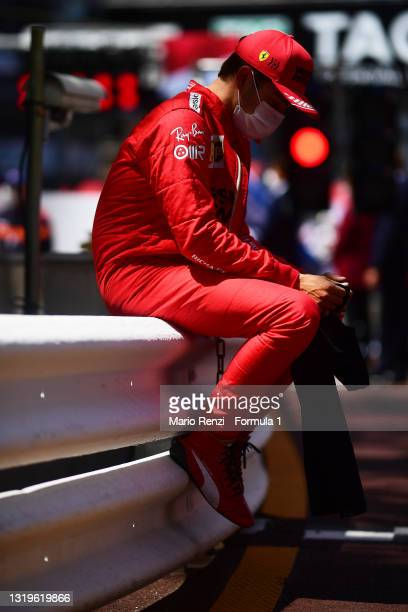 Charles Leclerc of Monaco and Ferrari looks dejected on the grid after discovering he could not start the race during the F1 Grand Prix of Monaco at...