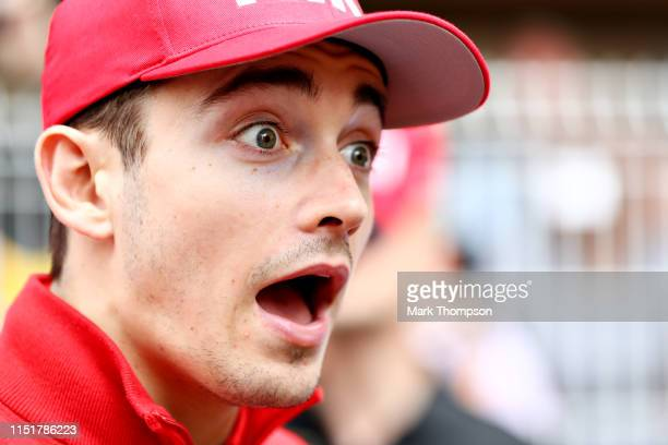 Charles Leclerc of Monaco and Ferrari looks surprised before the F1 Grand Prix of Monaco at Circuit de Monaco on May 26 2019 in MonteCarlo Monaco