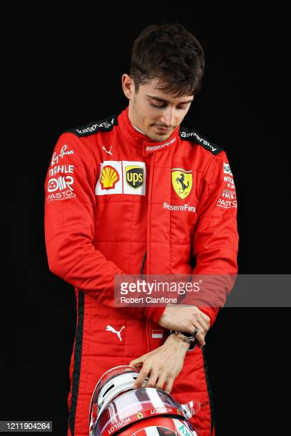 Charles Leclerc of Monaco and Ferrari poses for a photo in the Paddock during previews ahead of the F1 Grand Prix of Australia at Melbourne Grand...