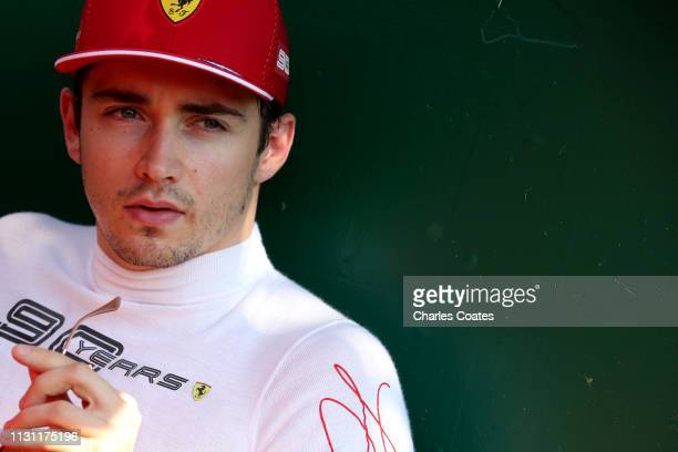 Charles Leclerc of Monaco and Ferrari prepares to drive on the grid before the F1 Grand Prix of Australia at Melbourne Grand Prix Circuit on March 17...