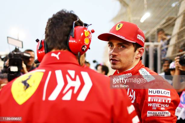 Charles Leclerc of Monaco and Ferrari prepares to drive on the grid during the F1 Grand Prix of Bahrain at Bahrain International Circuit on March 31...