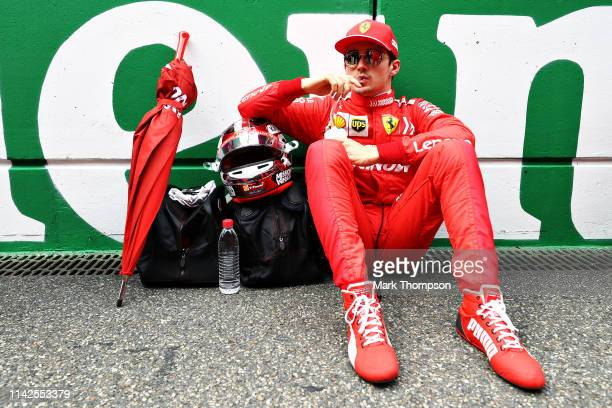 Charles Leclerc of Monaco and Ferrari prepares to drive on the grid before the F1 Grand Prix of China at Shanghai International Circuit on April 14...