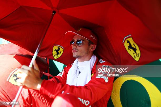 Charles Leclerc of Monaco and Ferrari prepares to drive on the grid before the F1 Grand Prix of Hungary at Hungaroring on August 04 2019 in Budapest...
