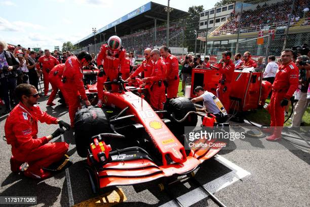 Charles Leclerc of Monaco and Ferrari prepares to drive on the grid before the F1 Grand Prix of Italy at Autodromo di Monza on September 08, 2019 in...