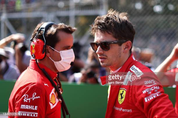 Charles Leclerc of Monaco and Ferrari prepares to drive on the grid during the F1 Grand Prix of Italy at Autodromo di Monza on September 12, 2021 in...