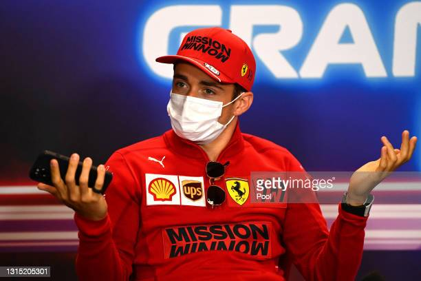 Charles Leclerc of Monaco and Ferrari reacts as he talks in the Drivers Press Conference during previews ahead of the F1 Grand Prix of Portugal at...