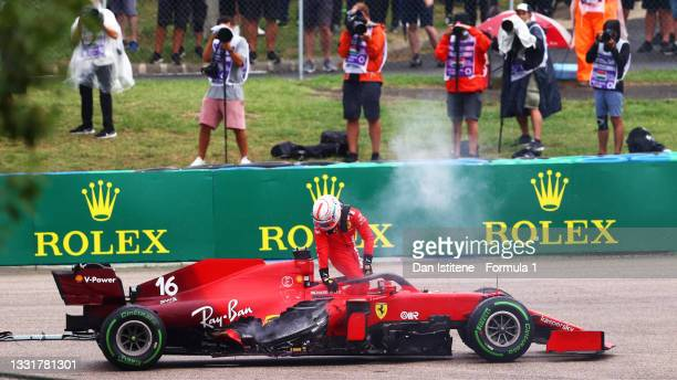 Charles Leclerc of Monaco and Ferrari retires from the race during the F1 Grand Prix of Hungary at Hungaroring on August 01, 2021 in Budapest,...