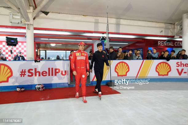 Charles Leclerc of Monaco and Ferrari takes part in a Shell activation during previews ahead of the F1 Grand Prix of China at Shanghai International...