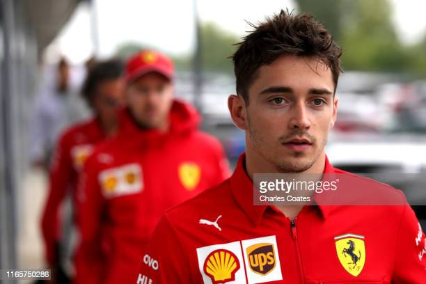 Charles Leclerc of Monaco and Ferrari walks in the Paddock after practice for the F1 Grand Prix of Hungary at Hungaroring on August 02 2019 in...