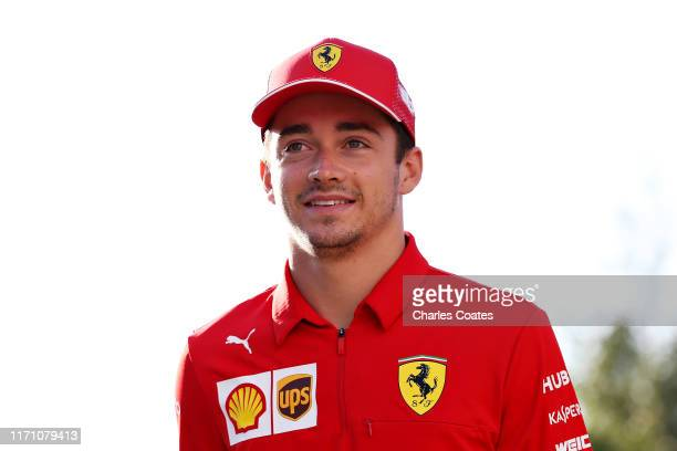 Charles Leclerc of Monaco and Ferrari walks in the Paddock before practice for the F1 Grand Prix of Belgium at Circuit de SpaFrancorchamps on August...