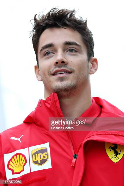 Charles Leclerc of Monaco and Ferrari walks in the Paddock before practice for the F1 Grand Prix of Russia at Sochi Autodrom on September 27 2019 in...