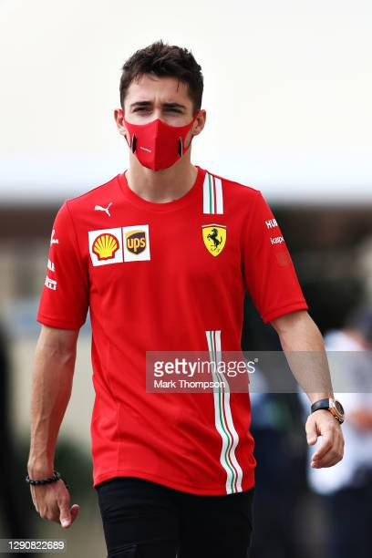 Charles Leclerc of Monaco and Ferrari walks in the Paddock before final practice ahead of the F1 Grand Prix of Abu Dhabi at Yas Marina Circuit on...