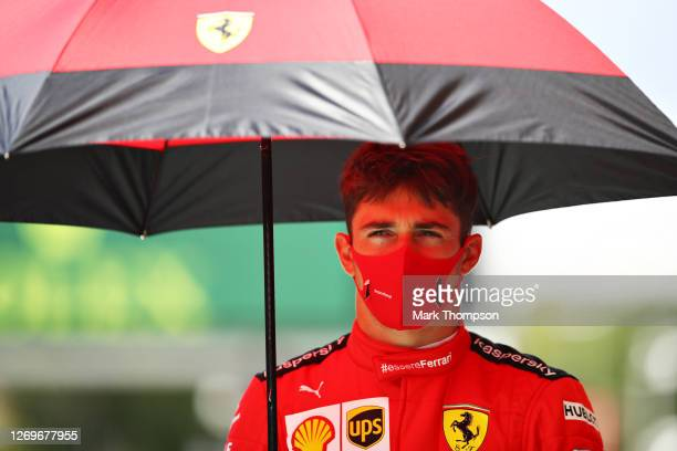 Charles Leclerc of Monaco and Ferrari walks to the grid before the F1 Grand Prix of Belgium at Circuit de Spa-Francorchamps on August 30, 2020 in...