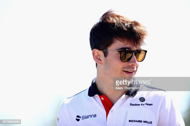 Charles Leclerc of Monaco and Sauber F1 arrives at the circuit before the Canadian Formula One Grand Prix at Circuit Gilles Villeneuve on June 10...