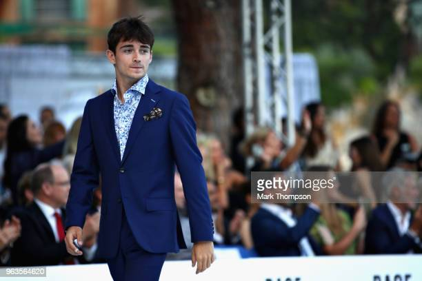 Charles Leclerc of Monaco and Sauber F1 at the Amber Lounge Fashion show during previews ahead of the Monaco Formula One Grand Prix at Circuit de...