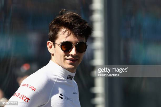 Charles Leclerc of Monaco and Sauber F1 looks on before the Australian Formula One Grand Prix at Albert Park on March 25 2018 in Melbourne Australia