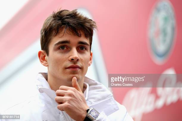 Charles Leclerc of Monaco and Sauber F1 looks on in the Paddock during day three of F1 Winter Testing at Circuit de Catalunya on March 8 2018 in...