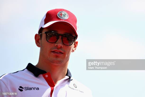 Charles Leclerc of Monaco and Sauber F1 looks on on the drivers parade before the Formula One Grand Prix of Hungary at Hungaroring on July 29 2018 in...