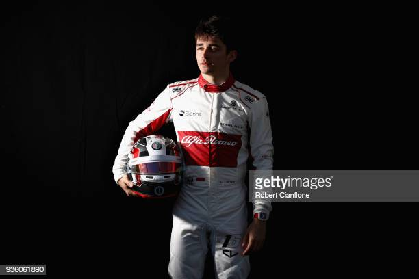 Charles Leclerc of Monaco and Sauber F1 poses for a photo during previews ahead of the Australian Formula One Grand Prix at Albert Park on March 22...