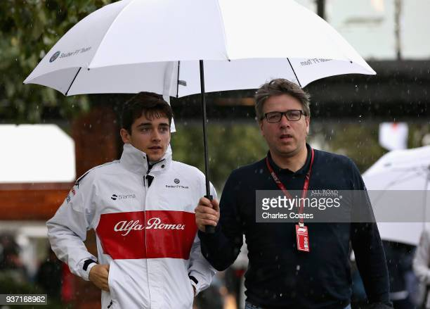 Charles Leclerc of Monaco and Sauber F1 walks in the Paddock before final practice for the Australian Formula One Grand Prix at Albert Park on March...