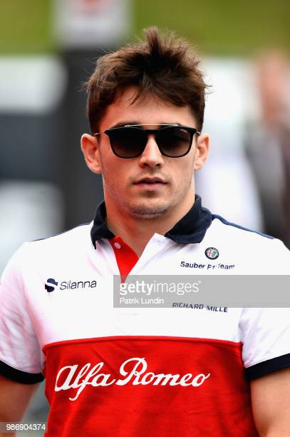 Charles Leclerc of Monaco and Sauber F1 walks in the Paddock before practice for the Formula One Grand Prix of Austria at Red Bull Ring on June 29...