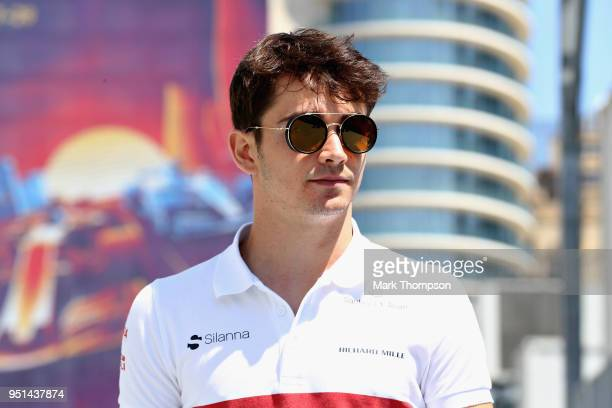 Charles Leclerc of Monaco and Sauber F1 walks in the Paddock during previews ahead of the Azerbaijan Formula One Grand Prix at Baku City Circuit on...