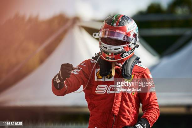 Charles Leclerc of Monaco and Scuderia Ferrari celebrates after winning the Formula 1 Grand Prix of Italy at Autodromo di Monza on September 8, 2019...