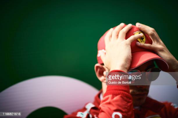 Charles Leclerc of Monaco and Scuderia Ferrari concentrates before the start of the Formula 1 Grand Prix of Italy at Autodromo di Monza on September...