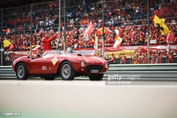 Charles Leclerc of Monaco and Scuderia Ferrari during the drivers parade of the Formula 1 Grand Prix of Italy at Autodromo di Monza on September 8...