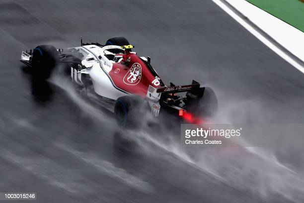 Charles Leclerc of Monaco driving the Alfa Romeo Sauber F1 Team C37 Ferrari on track during final practice for the Formula One Grand Prix of Germany...