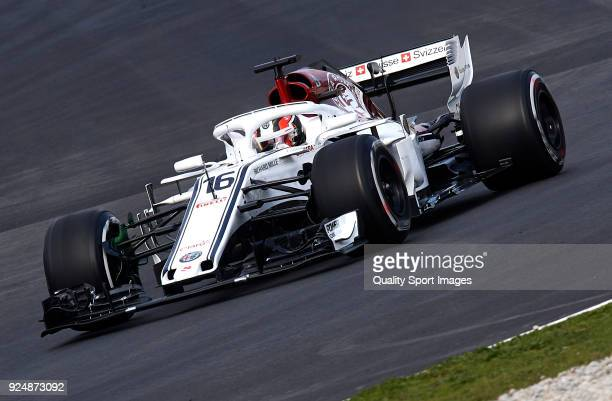 Charles Leclerc of Monaco driving the Alfa Romeo Sauber F1 Team C37 Ferrari on track during day two of F1 Winter Testing at Circuit de Catalunya on...