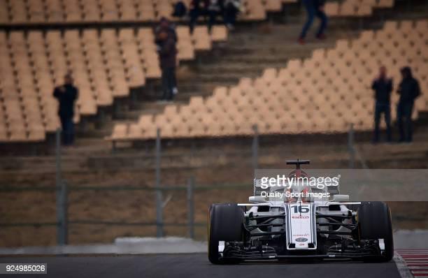 Charles Leclerc of Monaco driving the Alfa Romeo Sauber F1 Team C37 Ferrari during day two of F1 Winter Testing at Circuit de Catalunya on February...