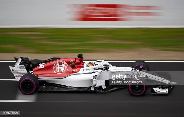 Charles Leclerc of Monaco driving the Alfa Romeo Sauber F1 Team C37 Ferrari during day four of F1 Winter Testing at Circuit de Catalunya on March 1...