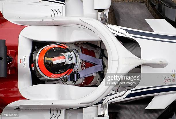 Charles Leclerc of Monaco driving the Alfa Romeo Sauber F1 Team C37 Ferrari during day four of F1 Winter Testing at Circuit de Catalunya on March 1...