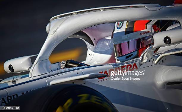 Charles Leclerc of Monaco driving the Alfa Romeo Sauber F1 Team C37 Ferrari during day two of F1 Winter Testing at Circuit de Catalunya on March 7...