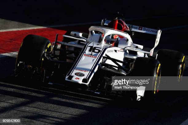 Charles Leclerc of Monaco driving the Alfa Romeo Sauber F1 Team C37 Ferrari in the Pitlane during day four of F1 Winter Testing at Circuit de...