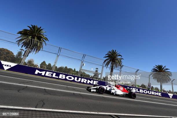Charles Leclerc of Monaco driving the Alfa Romeo Sauber F1 Team C37 Ferrari on track during practice for the Australian Formula One Grand Prix at...