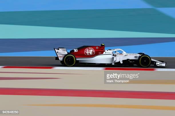 Charles Leclerc of Monaco driving the Alfa Romeo Sauber F1 Team C37 Ferrari on track during practice for the Bahrain Formula One Grand Prix at...