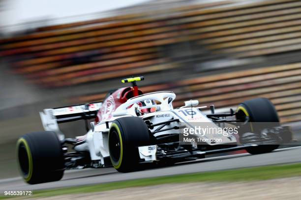 Charles Leclerc of Monaco driving the Alfa Romeo Sauber F1 Team C37 Ferrari on track during practice for the Formula One Grand Prix of China at...