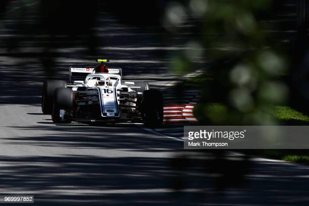 Charles Leclerc of Monaco driving the Alfa Romeo Sauber F1 Team C37 Ferrari on track during practice for the Canadian Formula One Grand Prix at...