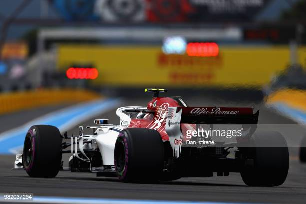Charles Leclerc of Monaco driving the Alfa Romeo Sauber F1 Team C37 Ferrari on track during qualifying for the Formula One Grand Prix of France at...