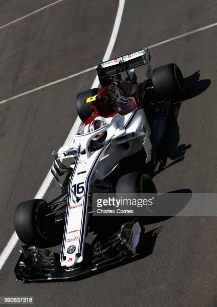 Charles Leclerc of Monaco driving the Alfa Romeo Sauber F1 Team C37 Ferrari on track during practice for the Formula One Grand Prix of Great Britain...