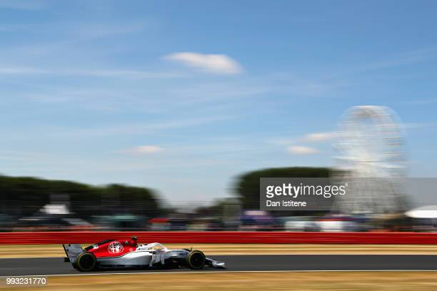 Charles Leclerc of Monaco driving the Alfa Romeo Sauber F1 Team C37 Ferrari on track during final practice for the Formula One Grand Prix of Great...